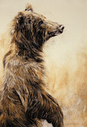 Standing Painting Framed Prints - Grizzly Bear 2 Framed Print by Odile Kidd