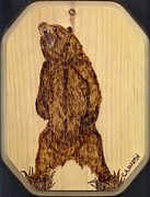 Mammal Pyrography Prints - Grizzly Bear Print by Clarence Butch Martin