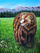 Michelle Wrighton Posters - Grizzly Bear in field of Flowers Painting Poster by Michelle Wrighton