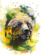 Science Fiction Pastels - Grizzly Bear by Janice Lawrence