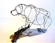 Hiking Sculptures - Grizzly Bear Wire Sculpture by Bud Bullivant