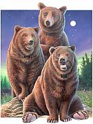 Grizzly Bear Paintings - Grizzly Bears in starry night by Hans Droog