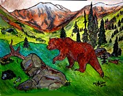 Bear Pyrography Originals - Grizzly Country by Mike Holder
