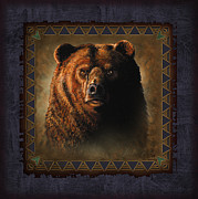 Game Painting Framed Prints - Grizzly Lodge Framed Print by JQ Licensing