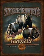 Montana Painting Framed Prints - Grizzly Traditions Framed Print by JQ Licensing