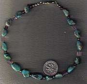 Music Jewelry - Grn TQ and Amethyst anklet by White Buffalo