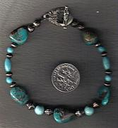 Silver Turquoise Jewelry Originals - Grn TQ and Blackened Silver by White Buffalo