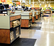 Grocery Store Prints - Grocery Store Checkout Counters Print by David Buffington
