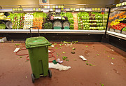 Cleanup Prints - Grocery Store Produce Aisle After Hours Print by David Buffington