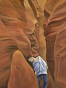 Slot Canyon Painting Originals - Groove Canyon by Sandi Snead