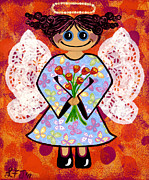 Cute Mixed Media Originals - Groovey Angel by Lisa Frances Judd