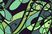 Green Framed Prints Digital Art - Groovy Green Abstract Swirl Design by Jayne Logan Intveld