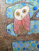 Circles Drawings Originals - Groovy Owl by Jo Claire Hall