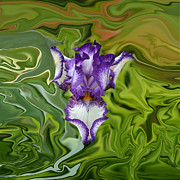 Flower Design Prints - Groovy Purple Iris Print by Rebecca Margraf