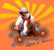 Tun Framed Prints - Groovy Turn n Burn Framed Print by Verena Matthew