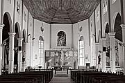 Black And White Religious Art Framed Prints - Gros Islet Church-St Lucia Framed Print by Chester Williams