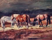 Gros Ventre Art - Gros Ventre Ranch Horses Oil Painting by Kim Corpany