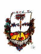 Native-american Mixed Media Prints - Grotesque Vision Print by Dan Daulby