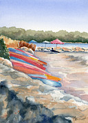 Beach Umbrella Posters - Groton Long Point Poster by Marsha Elliott