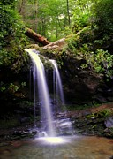 Secluded Mountain Landscape Prints - Grotto Falls Print by Robert Harmon