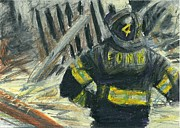 Firefighter Pastels Posters - Ground Zero  Poster by Lt