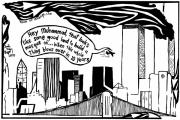 Yonatan Frimer Mixed Media Originals - Ground Zero Mosque Maze Cartoon by Yonatan Frimer by Yonatan Frimer Maze Artist