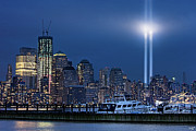 9-11 Posters - Ground Zero Tribute Lights and the Freedom Tower Poster by Chris Lord