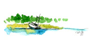 Bayous Painting Prints - Grounded on Little River Alabama Print by Paul Gaj