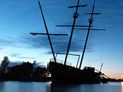 Tall Ships Prints - Grounded Tall Ship Silhouette Print by Oleksiy Maksymenko