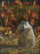 Autumn Holiday Mixed Media Posters - Groundhog Bulking up for Winter Poster by Susan Donley