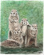 Groundhog Painting Posters - Groundhog Family Poster by Louise Miller