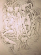 Erotic Drawing Photo Posters - Group Poster by Gianni Galli