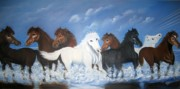 Usha Rai Framed Prints - Group of Horses Framed Print by Usha Rai