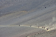 Mountain Road Prints - Group of people riding horses in Haleakala crater Print by Sami Sarkis