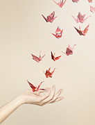 Only Women Prints - Group Of Red Origami Cranes Flying Away From Hand Print by Paper Boat Creative