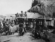 Tonga Framed Prints - Group Of Tongans In Traditional Costume Framed Print by Everett