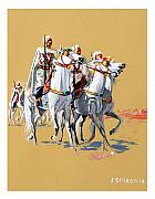 Horse Paintings - Groupe monte de protection territoriale en Algerie Francaise by Josette SPIAGGIA