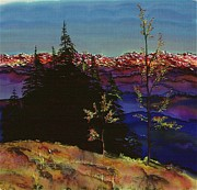 Trees Tapestries - Textiles Posters - Grouse Mountain Poster by Carolyn Doe