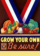 Food Mixed Media Prints - Grow Your Own Victory Garden Print by War Is Hell Store