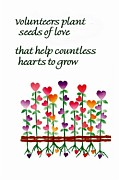 Gratitude Card Posters - Growing Hearts Poster by Karon Melillo DeVega