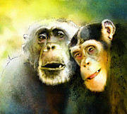 Monkeys Drawings - Growing Old Together by Miki De Goodaboom