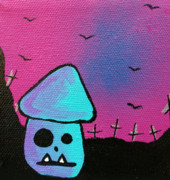Mustaches Mixed Media Posters - Gruff Zombie Mushroom Poster by Jera Sky