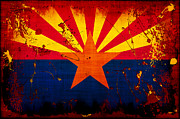 Flags Digital Art Framed Prints - Grunge and Splatter Arizona Flag Framed Print by David G Paul