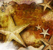 Angela Waye Prints - Grunge Golden Sparkle Star Background Print by Angela Waye