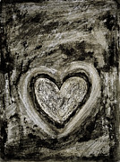 Black And White Mixed Media Acrylic Prints - Grunge Heart Acrylic Print by Frank Tschakert