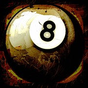 Sports Digital Art - Grunge Style 8 Ball by David G Paul