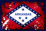 Arkansas Digital Art Metal Prints - Grunge Style Arkansas Flag Metal Print by David G Paul