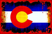 Colorado Prints Prints - Grunge Style Colorado Flag Print by David G Paul