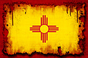 Flag Prints - Grunge Style New Mexico Flag Print by David G Paul