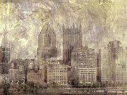 Sky Line Art - Grungy City Skyline  by Randy Steele